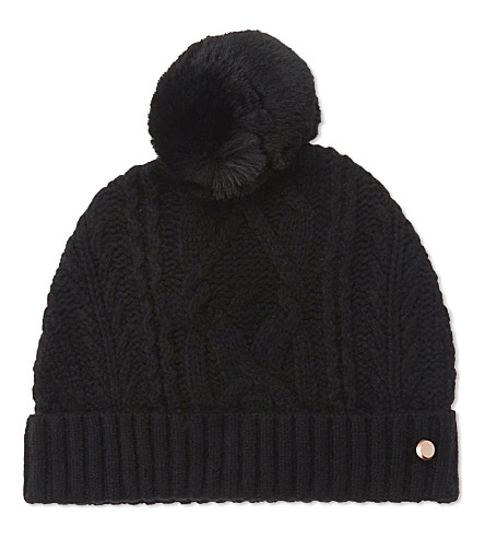 TED BAKER Kyliee cable knit bobble hat (Black
