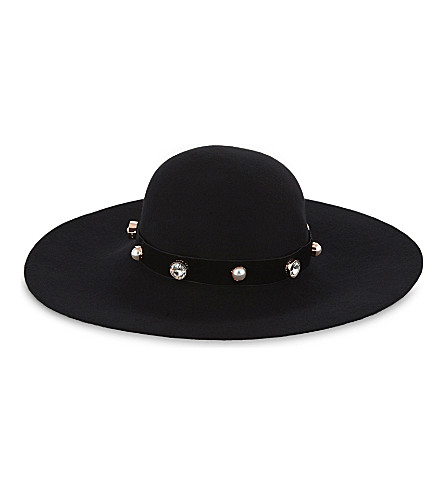 TED BAKER Crystal and faux-pearl wool hat (Black