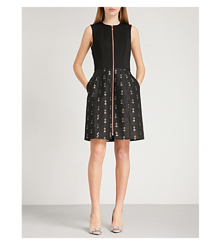 TED BAKER Elephant-pattern jacquard dress (Black