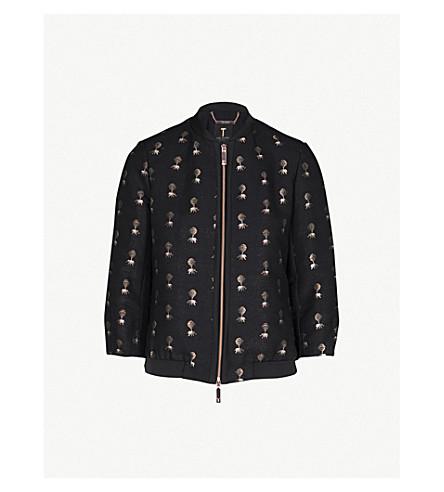 TED BAKER Ruthiee Spectacular embellished jacquard bomber jacket (Black