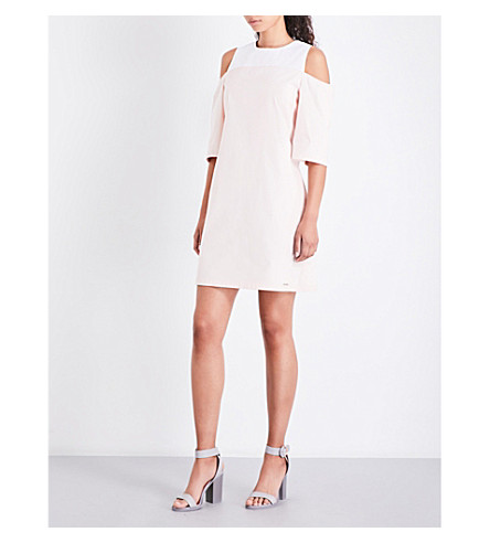 TED BAKER Colour By Numbers Janoo cold-shoulder cotton dress (Nude+pink
