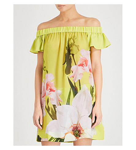 TED BAKER Tuelli off-the-shoulder chiffon mini dress (Light+green