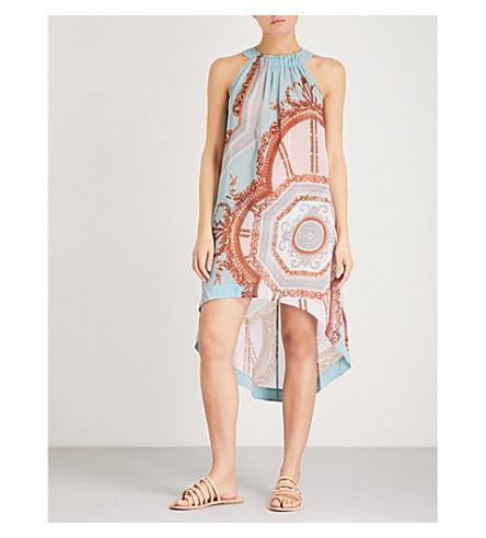 TED BAKER Mertas printed chiffon mini dress (Light+blue