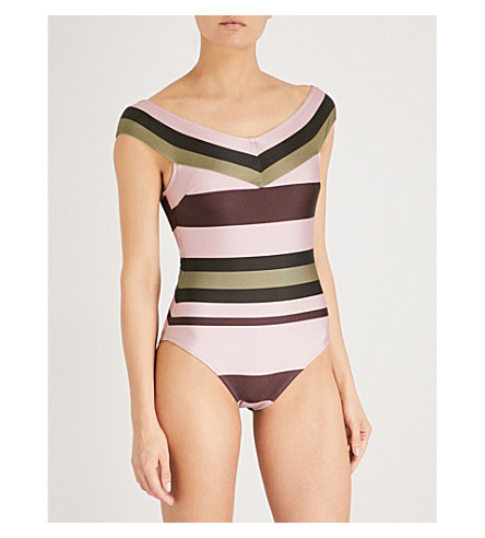 TED BAKER Terala striped swimsuit (Dusky+pink