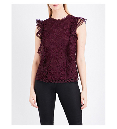 TED BAKER Ruffled-trims embroidered lace top (Maroon
