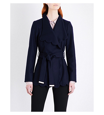 TED BAKER Scallop-detailed wool-blend coat (Navy