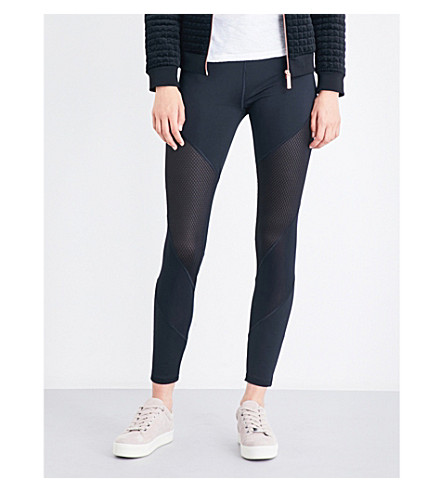 TED BAKER Atcro mesh-insert high-rise leggings (Black