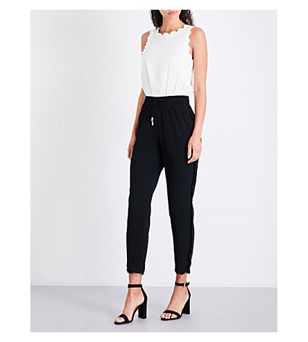 TED BAKER Sippy scalloped-detail crepe jumpsuit (Black