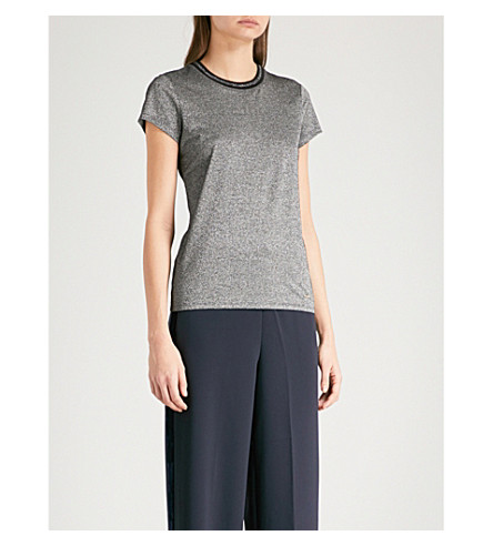 TED BAKER Colour By Numbers Amelle metallic jersey T-shirt (Black