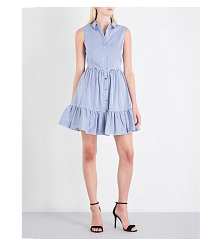 TED BAKER Dayylia striped collared cotton-twill dress (Navy