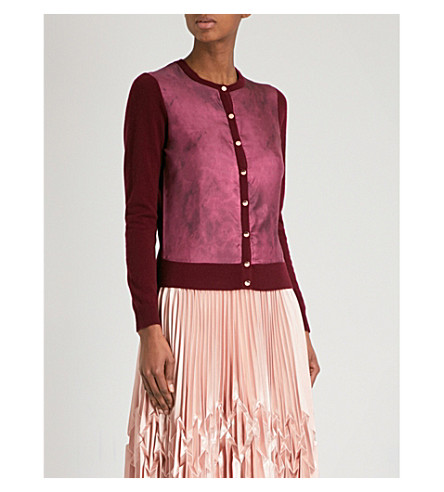 TED BAKER 石英印羊绒和真丝开襟衫 (栗色