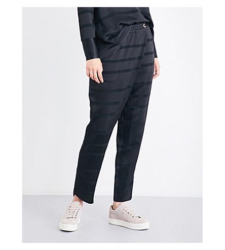 TED BAKER 虎条纹缎-绉裤 (黑色