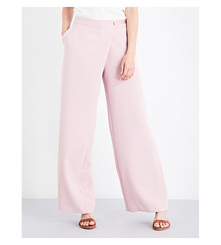 TED BAKER Yasin wrap-front gabardine trousers (Dusky+pink