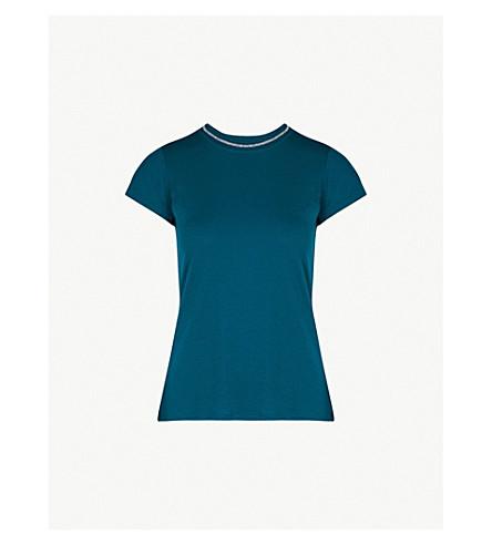 TED BAKER 颜色按数字伊莉亚平纹针织面料 T 恤 (蓝绿色