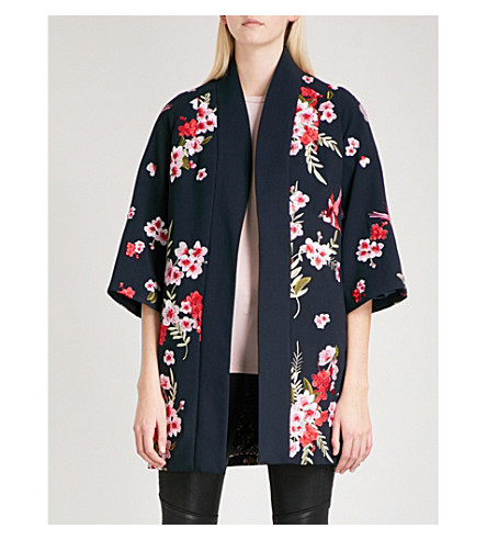 TED BAKER Aurian bird and blossom-embroidered jersey kimono (Navy
