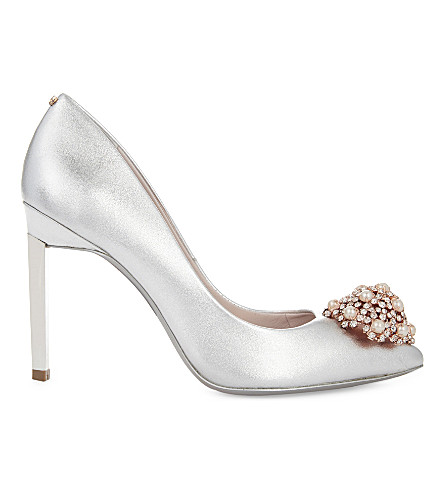 TED BAKER Brooch-detail metallic leather courts (Silver