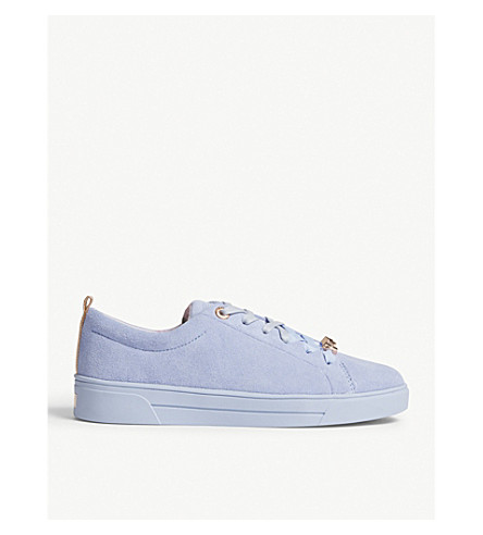 TED BAKER Lace up suede tennis trainers (Pale+blue