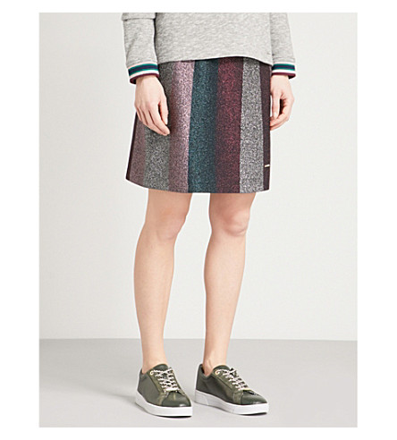 TED BAKER Colour by Numbers Vee metallic-knit mini skirt (Black