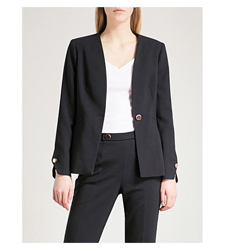 TED BAKER Cerisa collarless stretch wool-blend jacket (Navy