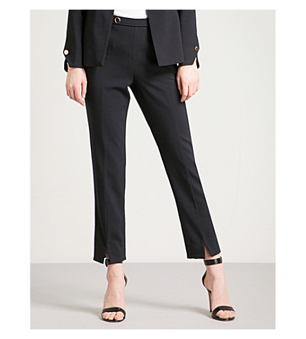 TED BAKER Cerisat high-rise skinny wool-blend trousers (Navy