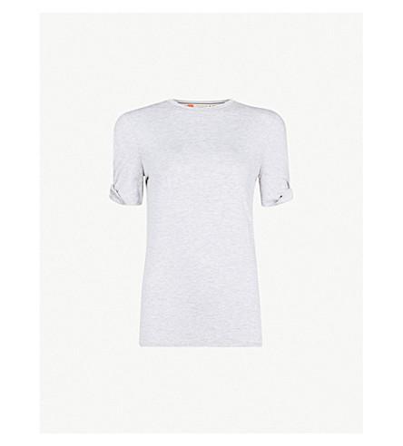 TED BAKER Cold shoulder jersey T-shirt (Grey+marl