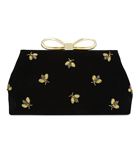 TED BAKER Beela embellished velvet clutch bag (Black