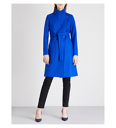 TED BAKER Samiye self-tie wool-blend coat (Bright+blue