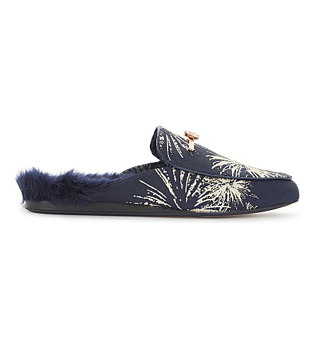 TED BAKER Kerriy backless faux-fur loafers (Dark+blue