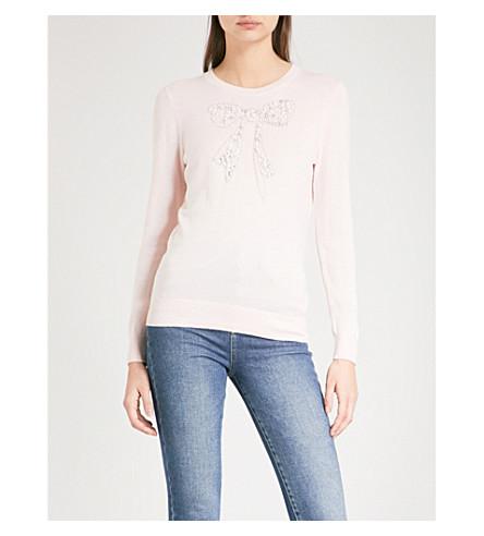 TED BAKER Bowsi embellished knitted jumper (Pale+pink