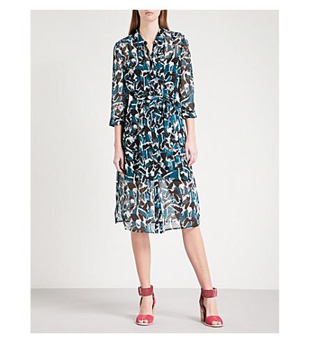 TED BAKER Kloss crane-print chiffon midi shirt dress (Teal