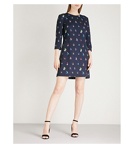 TED BAKER Flying fish-print jersey dress (Navy