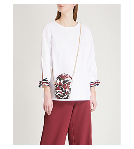TED BAKER Colour By Numbers Biju split-sleeve cotton-poplin top (White