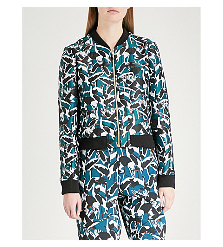 TED BAKER Colour By Numbers Joeshi crane-print bomber jacket (Teal