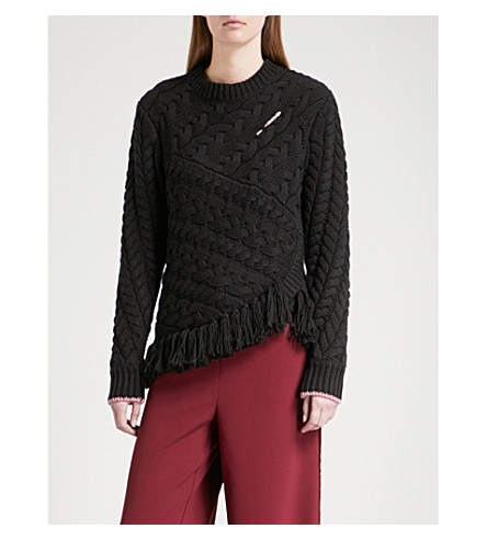 TED BAKER Colour by Numbers Jaia cotton and wool-blend jumper (Black