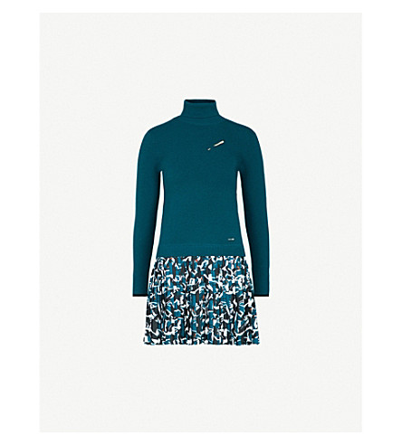TED BAKER Thiago knitted and crepe dress (Teal