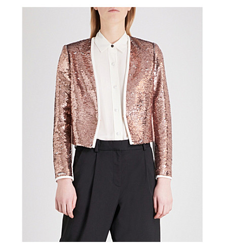 TED BAKER Zalee sequinned jacket (Rose+gold