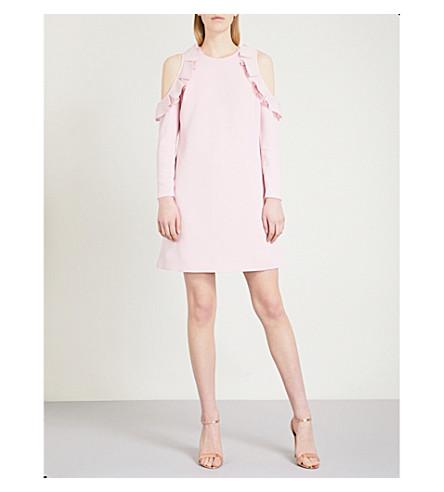 TED BAKER Cold-shoulder crepe dress (Dusky+pink