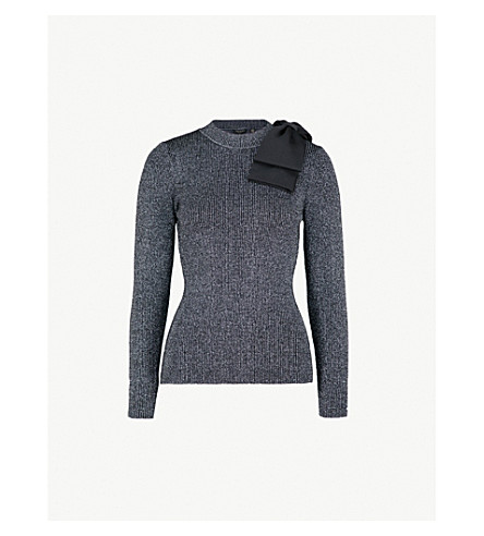 TED BAKER Saaydie bow-detail metallic knitted jumper (Gunmetal
