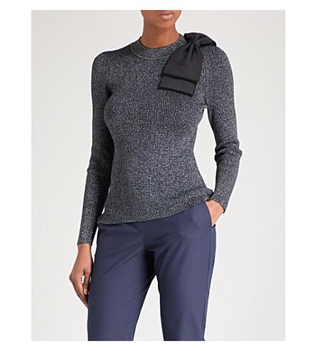 TED BAKER Saaydie bow-detail metallic knitted jumper (Gunmetal