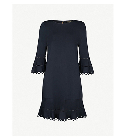 TED BAKER Yazmiin woven mini dress (Dark+blue