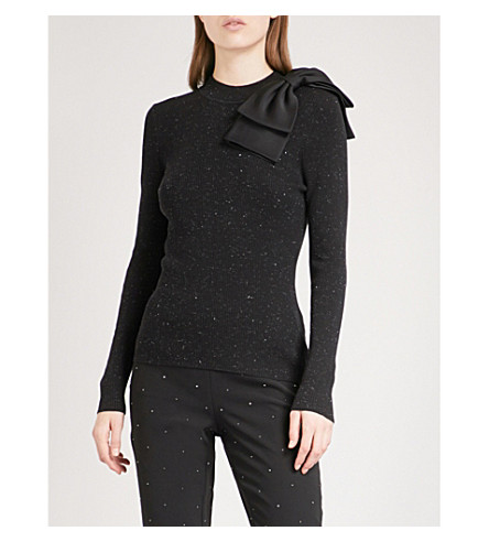 TED BAKER Gabiell bow-detail metallic-fleck cotton-blend jumper (Black