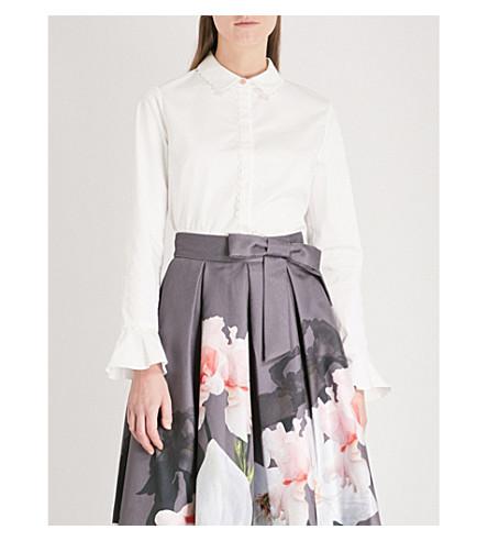 TED BAKER Veritee fluted cuff cotton-blend shirt (White