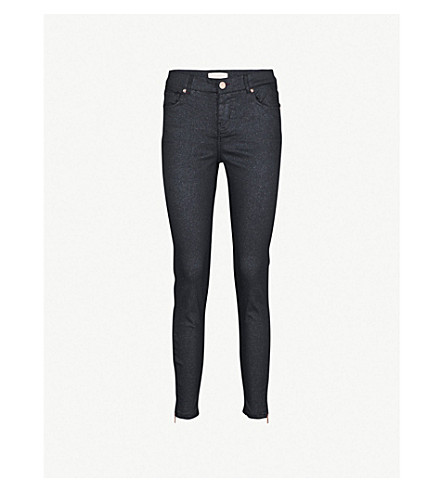 TED BAKER Sparqli glittery skinny mid-rise jeans (Black