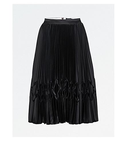TED BAKER Zig-zag-detail pleated satin midi skirt (Black