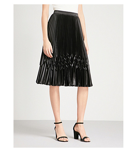 TED BAKER Zig-zag-detail pleated satin midi skirt (Black