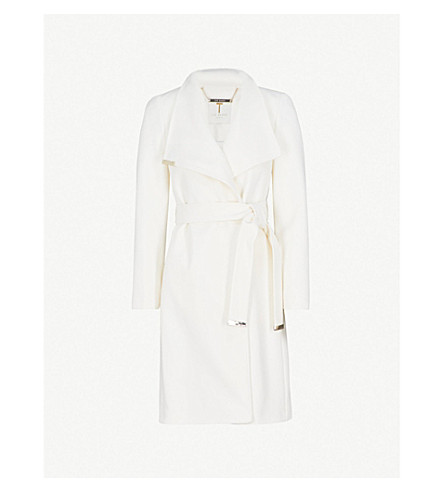 TED BAKER Kikiie wool-blend wrap coat (Ivory