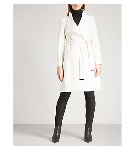 TED BAKER Kikiie wool-blend wrap coat (Ivory