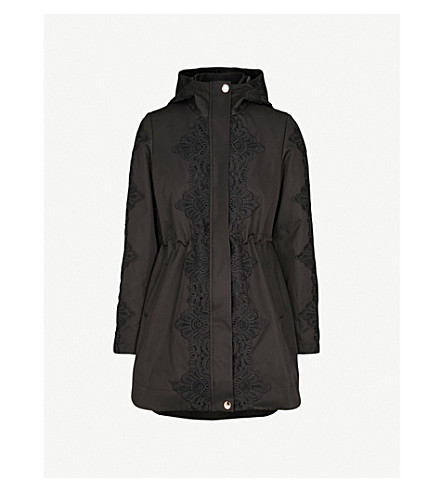 TED BAKER Luceen shell and lace parka coat (Black