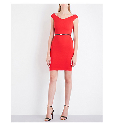 TED BAKER Cold-shoulder jersey bodycon dress (Brick+red