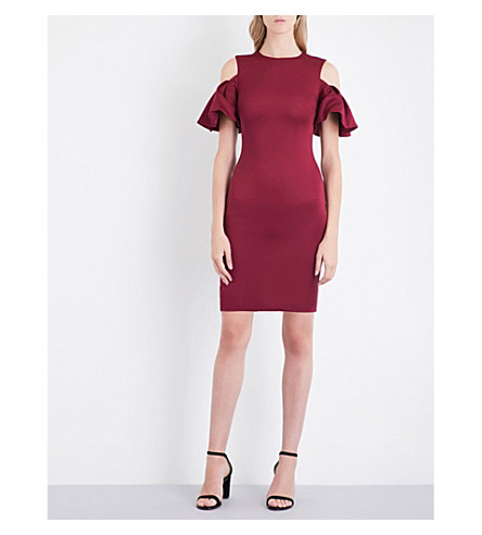 TED BAKER 冷肩皱纹连衣裙 (Oxblood